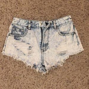 High Waisted Distressed Denim Cutoff Shorts
